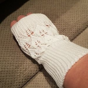 New white eggshell fingerless gloves mittens